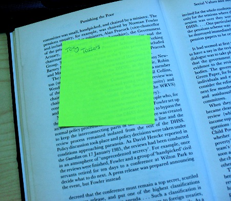 Post-it note found in book
