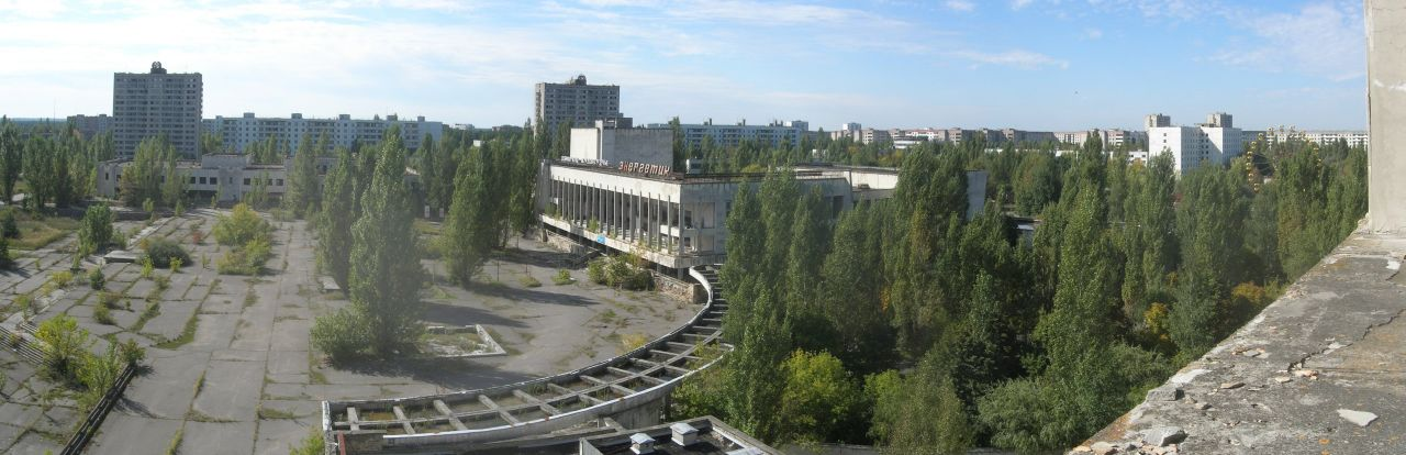 Panaroma of Pripyat, the city built to house the workers at the Chernobyl Nuclear Power Plant. (Source)