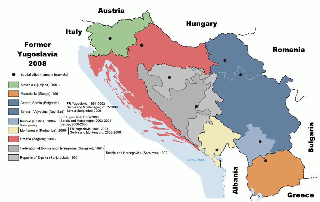 The former Yugoslavia and successor states as of 2008. (Source)