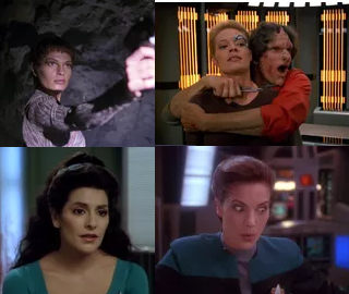 Clockwise from top left: T'Pol; Seven of Nine (being held hostage); Dax; Troi. (Source)