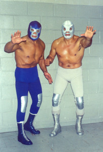 "Blue Demon and El Santo, two of the ""big three"" luchadores (along with Mil Mascaras), who popularised the lucha libre style of wrestling in Mexico and Latin America. (Source)"