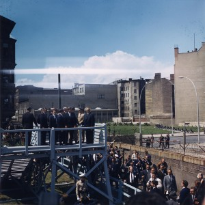 President Kennedy visiting the Berlin Wall in 1963. Ich bin ein Berliner... (Source)