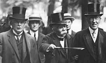 Lloyd-George, Clemenceau and Wilson, the leaders of the UK, France and USA who negotiated the Armistice. (Source)