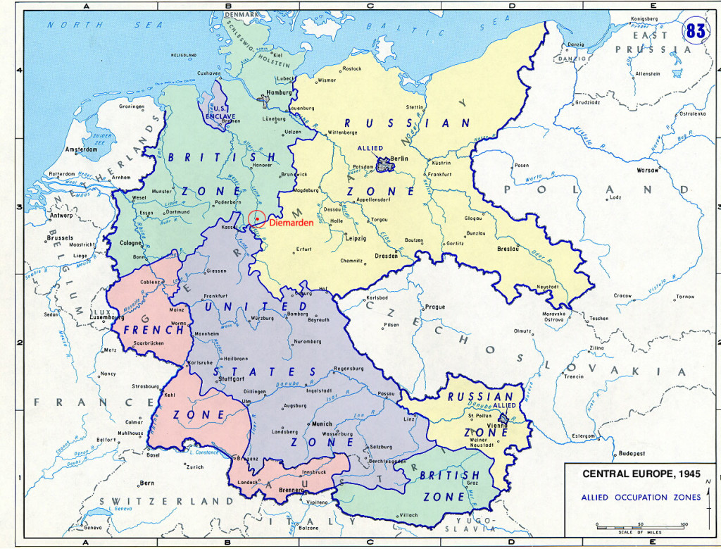 Map outlining the zones of control in Germany and Austria following the War. Austria eventually became an independent, democratic country in 1955 after the Soviet Union withdrew. Germany would remain split, however, until 1990. (Source)