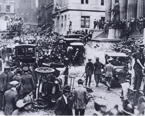 The aftermath of the Wall Street Bombing in 1920. (Source)