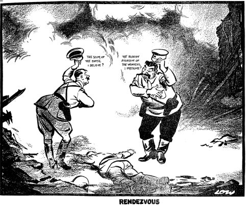 This Low cartoon from the Daily Express showed that, perhaps, Stalin and Hitler were not exactly BFFs. (From the British Cartoon Archive)